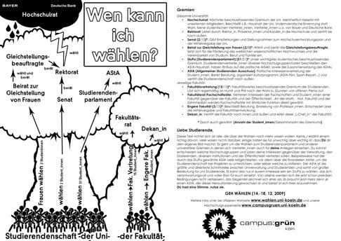 Gremien der Uni Köln - WS 09/10